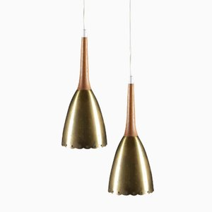 Mid-Century Swedish Perforated Brass & Teak Pendants, Set of 2