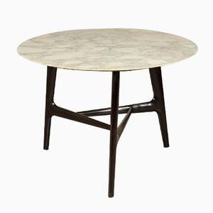 Round Italian Ebonized Wood & Marble Table, 1950s