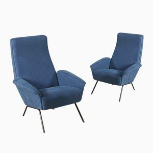 Blue Italian Armchairs, 1960s, Set of 2