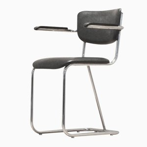 Dutch Tubular Chrome 200 Series Office Chair by W.H. Gispen, 1950s