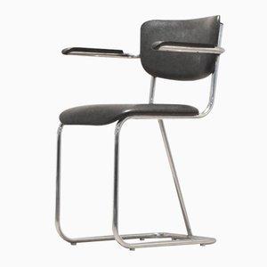 Niederländischer Verchromter 200 Series Bürostuhl von W.H. Gispen, 1950er