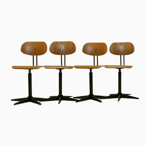 Dutch Industrial Plywood Swivel Chairs, 1960s, Set of 4