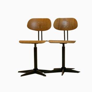 Chaises à Pivot Industrielles en Contreplaqué, 1960s, Set de 2