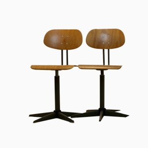 Dutch Industrial Plywood Swivel Chairs, 1960s, Set of 2