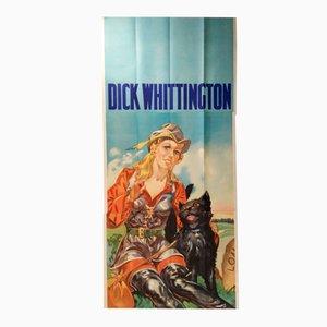 Poster grande a tre fogli della pantomima di Dick Whittington vintage di Taylors of Wombwell, Regno Unito, anni '30