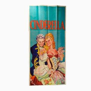 Poster grande a tre fogli della pantomima di Cinderella vintage di Taylors of Wombwell, Regno Unito, anni '30