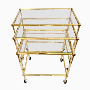 Italian Brass Faux Bamboo Nesting Tables, 1960s, Set of 3