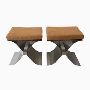 French Stainless Steel and Suede X-Leg Stools by Francois Monnet for Kappa, 1970s, Set of 2