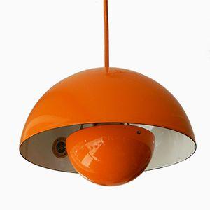 Dänische Orangefarbene Flower Pot Hängelampe von Verner Panton für Louis Poulsen, 1960er