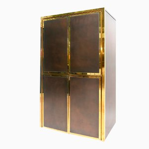 French Brushed Brass Bar Cabinet by Maison Jansen, 1980s