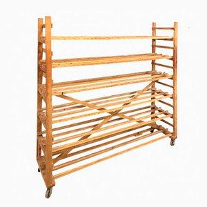 Belgian Industrial Pine Baker's Rack, 1940s