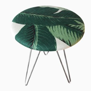 Mid-Century Stool with Banana Leaf Upholstery
