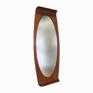 Vintage mirror with a curved frame by carlo graffi for for Miroir elliptique