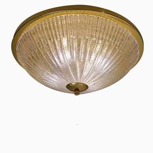 Large German Brass and Crystal Flush Light from Hillebrand, 1970s