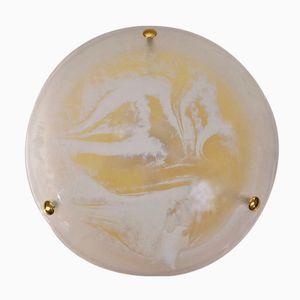 German Murano Art Glass & Brass Flush Light from Hillebrand, 1970s