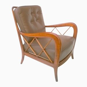 Vintage Leather Armchair by Paolo Buffa