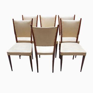 Italian Mahogany Chairs, 1950s, Set of 6