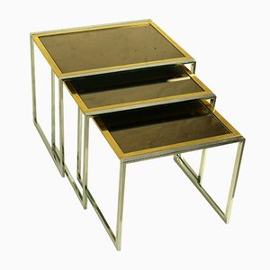 Italian Chrome, Brass, and Mirrored Glass Nesting Tables, 1970s, Set of 3