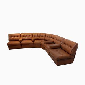 Dutch Grand Sectional Cognac Leather Lounge Sofa, 1960s