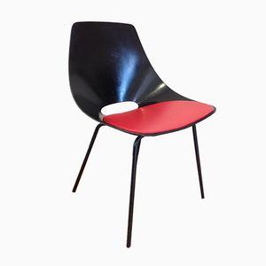Französischer Rot/Schwarzer Barrel Stuhl von Pierre Guariche für Steiner, 1950er