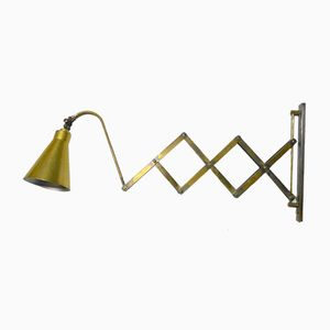 Italian Brass Scissor Wall Lamp, 1950s