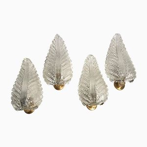 Large Italian Leaf-Shaped Wall Lights from Barovier e Toso, Set of 4