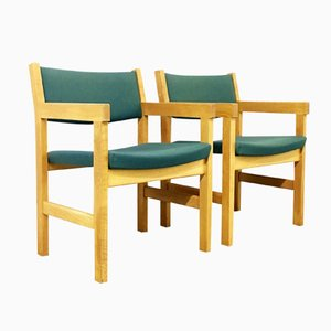 Danish Fabric and Oak Armchairs by Hans Wegner for Getama, 1970s, Set of 2