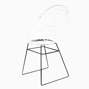 Stuhl aus Metalldraht in Schwarz & Weiß von Flamingo, 1950er