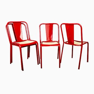 Vintage French Red Metal Chairs, Set of 4