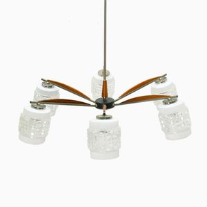 Teak and Stainless Steel Chandelier, 1960s