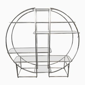 German Large Round Chrome Shelf, 1970s