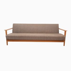 Mocca Brown Cherrywood Folding Daybed, 1960s