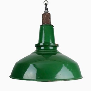 Large Industrial Green and White Enamel Ceiling Light