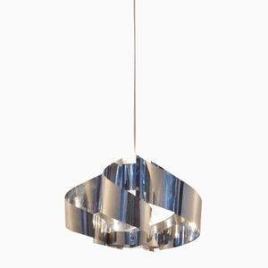 French Aluminium Swirl Hanging Lamp by Max Sauze, 1970s
