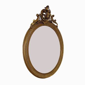 French Victorian Gilded Oval Mirror, 1900s