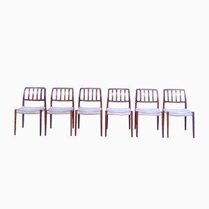 Danish Model 83 Teak Dining Chairs by Niels O. Møller for J.L. Møller, 1970s, Set of 6