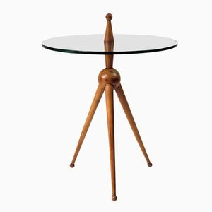 Blonde Wood and Glass Tripod Occasional Table, 1950s
