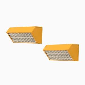 Lampade da parete in acciaio giallo, anni '70, set di 2