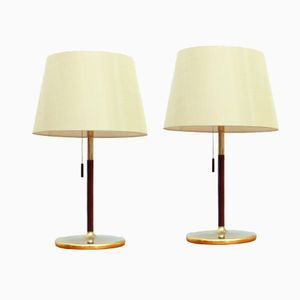 Swiss Gold Plated Wooden Table Lights from Swiss Lamps International, 1960s, Set of 2