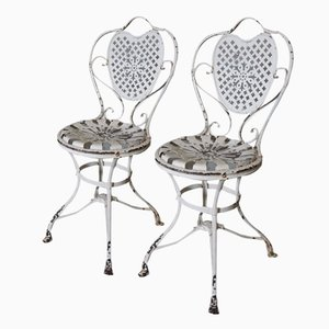 French Wrought Iron Garden Chairs, 1890s, Set of 2