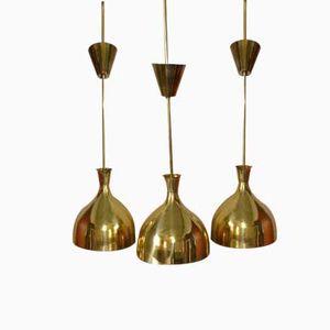 Swedish Brass Pendant Lamps, 1965, Set of 3