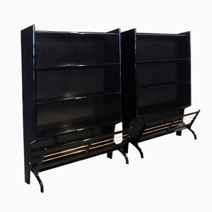 Small Italian Mahogany Bookcases, 1950s, Set of 2