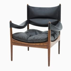 rosewood leather high back lounge chair by kristian vedel for s ren. Black Bedroom Furniture Sets. Home Design Ideas