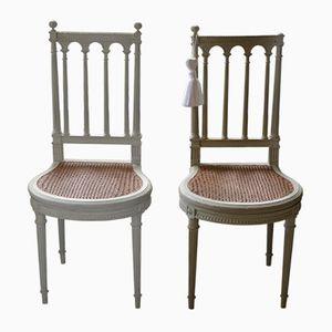 Antike Französische Stühle mit Geflochtenem Sitz, 2er Set
