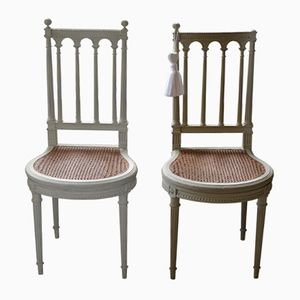 Antique French Braided Seat Chairs, Set of 2