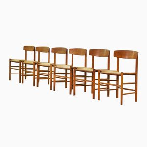 Danish J39 Dining Chairs by Børge Mogensen for Fredericia, 1960s, Set of 6