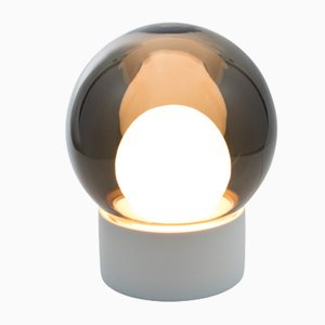 Small Boule Small in Opal White & Smoky Grey Glass with a White Base by Sebastian Herkner for Pulpo & Rosenthal