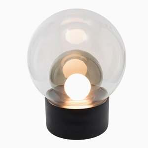 Medium Boule aus Klar- und Grauem Rauchglas mit Schwarzem Sockel von Sebastian Herkner für Pulpo & Rosenthal