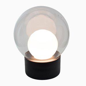 Medium Boule aus Klar- und Weißem Opalglas mit Schwarzem Sockel von Sebastian Herkner für Pulpo & Rosenthal