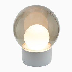 Medium Boule aus Weißem Opalglas & Rauchglas mit Weißem Sockel von Sebastian Herkner für Pulpo & Rosenthal